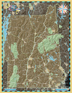 New Hampshire and Vermont Deco Wall Map