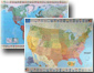 Michelin USA and World with Flags Wall Map Set