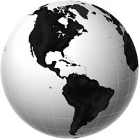 Globe - Americas - Black & White Digital Map