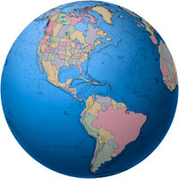 Globe - Americas - Political Digital Map