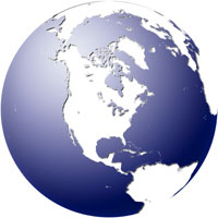 Globe  North America  Blue  White Digital Map by Map Resources