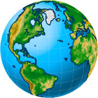 Globe - Atlantic - Physical Digital Map