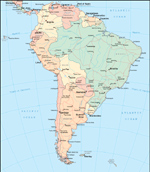 South America Continent - Political Digital Map