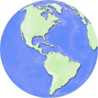 Globe - Americas - Blue-Green Digital Map