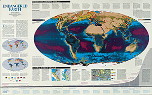 National Geographic Endangered Earth Satellite Wall Map