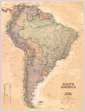 National Geographic South America Executive Wall Map