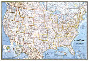 National Geographic USA Classic Wall Map