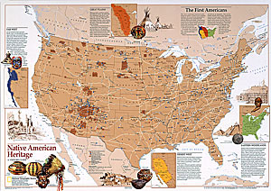 National Geographic Native American Heritage Wall Map By National