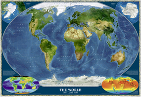 National Geographic World Satellite Wall Map