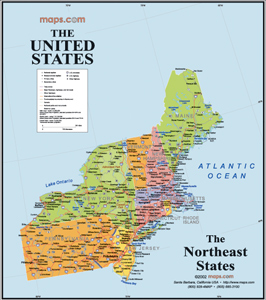 northeast states usa wall map