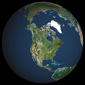 Globe North America Satellite Digital Map