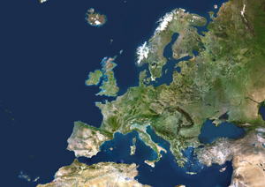 25 European Member States Satellite Digital Map