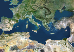 Mediterranean Area Satellite Digital Map
