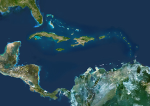 Caribbean Islands Satellite Digital Map