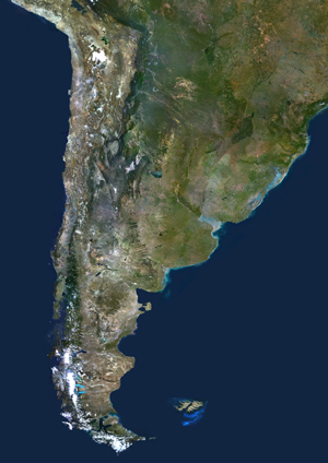 Chile and Argentina Satellite Digital Map