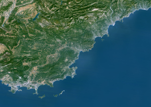 French Riviera, France Satellite Digital Map