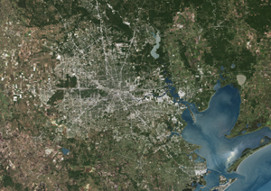 Houston Texas Satellite Digital Map By Planet Observer From Mapscom - Satellite map of texas