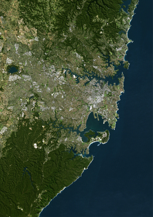 Sydney Australia Satellite Digital Map by Planet Observer from Maps