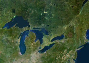 Great Lakes Satellite Digital Map