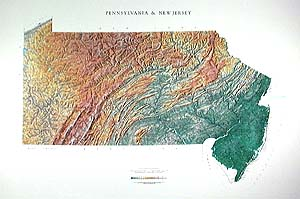 Pennsylvania and New Jersey Wall Map