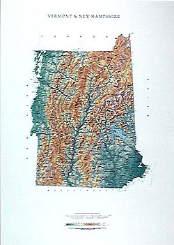 Vermont and New Hampshire Wall Map