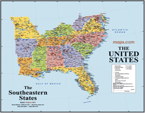 Southeast States USA Wall Map
