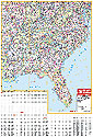 Southeast United States with Virginia Wall Map