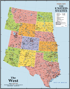 Western States USA Wall Map