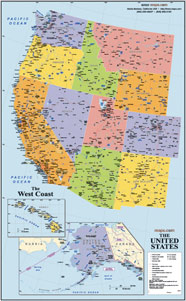West Coast USA Wall Map