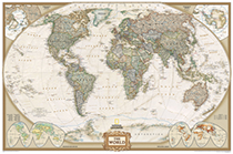 Executive World Framed Wall Map