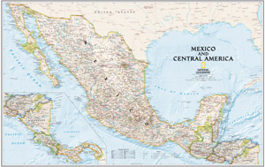 National Geographic Mexico & Central America Wall Map