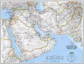 National Geographic Afghanistan, Pakistan and the Middle East Wall Map