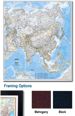 Asia Framed Wall Map