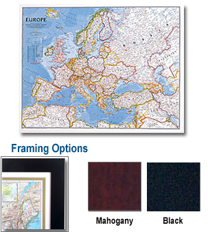 Europe Framed Wall Map