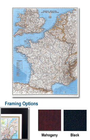 France Framed Wall Map