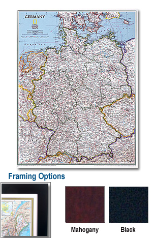 Germany Framed Wall Map