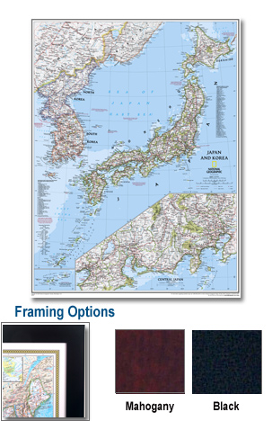 Japan Framed Wall Map