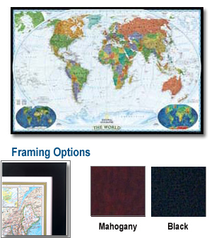 Decorative World Framed Wall Map