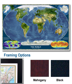 World Satellite Framed Wall Map