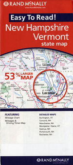Rand McNally New Hampshire and Vermont Travel Map