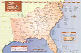 Florida Colleges Map.College Locator Map Southeast By Wintergreen Orchard House From