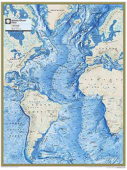 National Geographic Atlantic Ocean Floor Wall Map by National