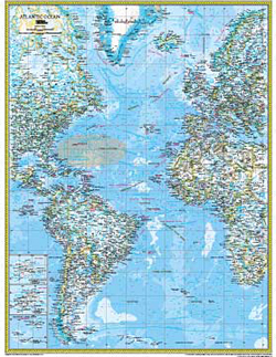National Geographic Atlantic Ocean Political Wall Map