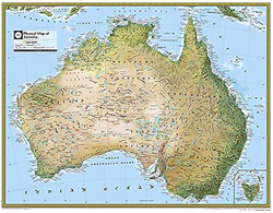 National Geographic Australia Physical Wall Map