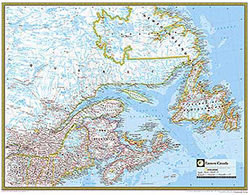 National Geographic Eastern Canada Wall Map