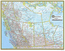 National Geographic Western Canada Wall Map