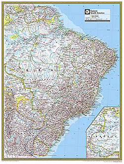 National Geographic Eastern South America Wall Map