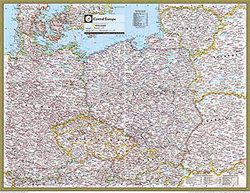 National Geographic Central Europe Wall Map