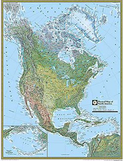 National Geographic North America Physical Wall Map by National ... America Wall Maps