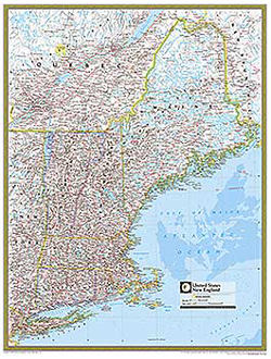 National Geographic New England Wall Map